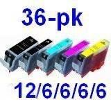 ink4print Canon PGI-220 & CLI-221 Compatible Set of 36 Ink Cartridges: 12 Pigment Black PGI-220, 6 each of CLI221 B/C/M/Y