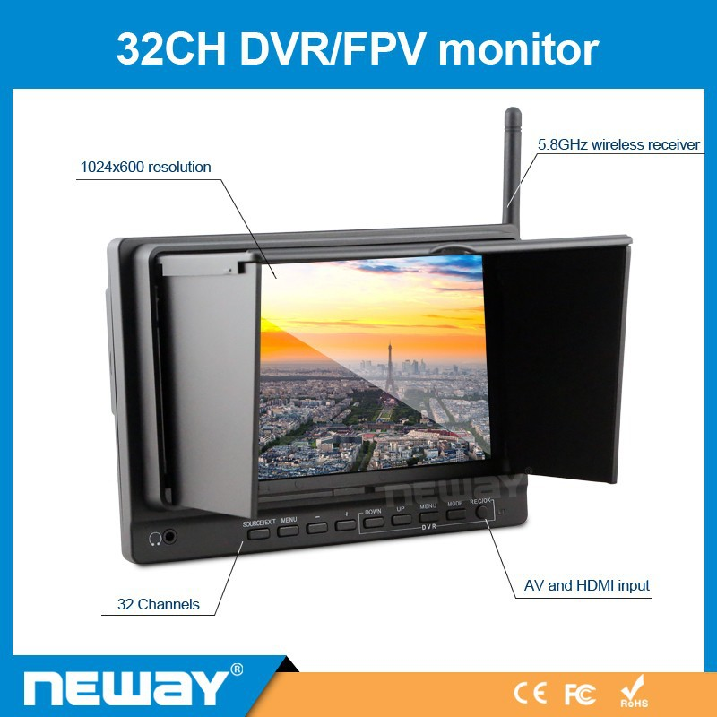 7 inch Aerial Dedicated FPV DVR Monitor with battery built in