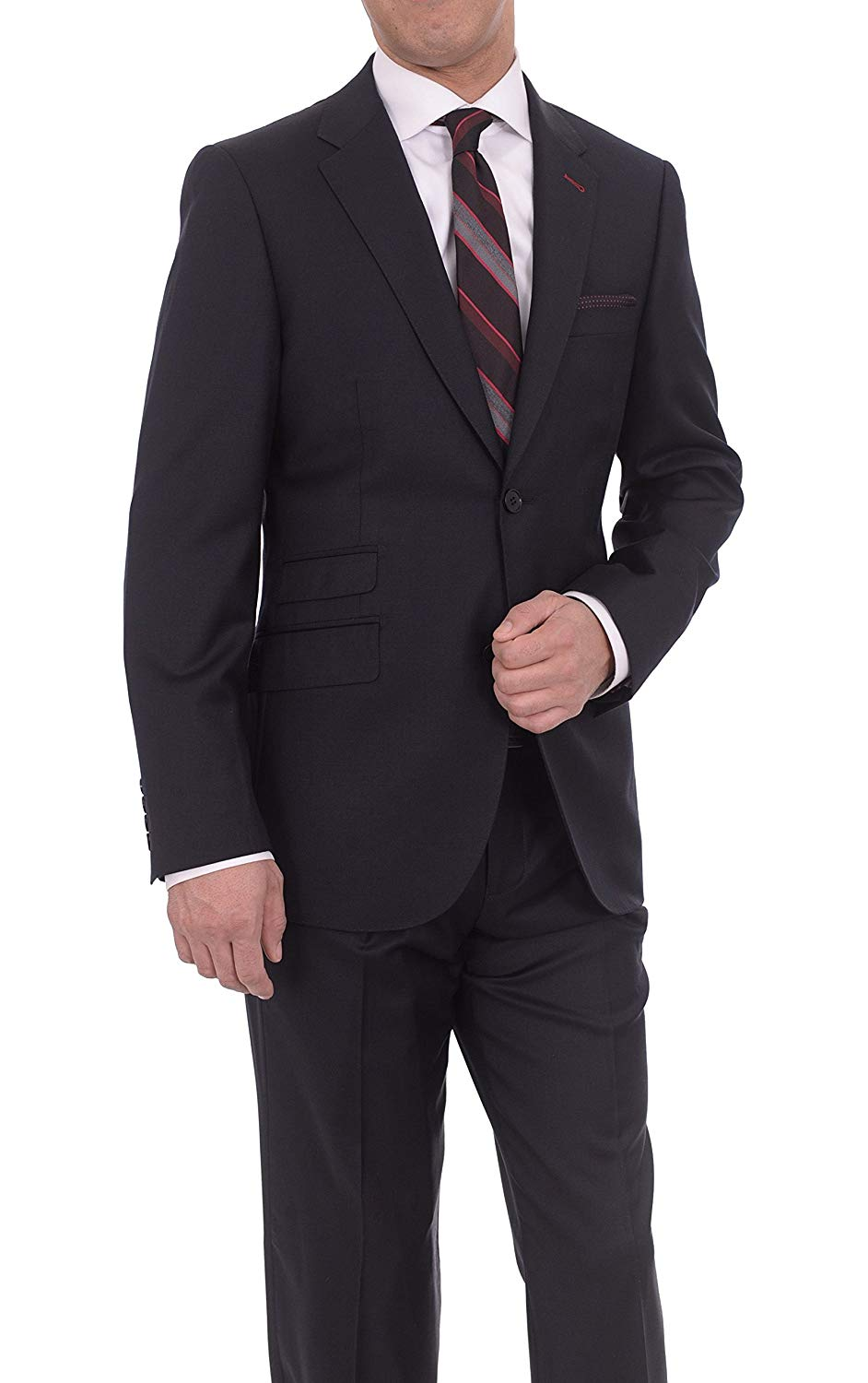 6012ecf98377a6 Get Quotations · Lvs By Levinas Charcoal Half Canvassed Wool Cashmere Suit  With Ticket Pocket