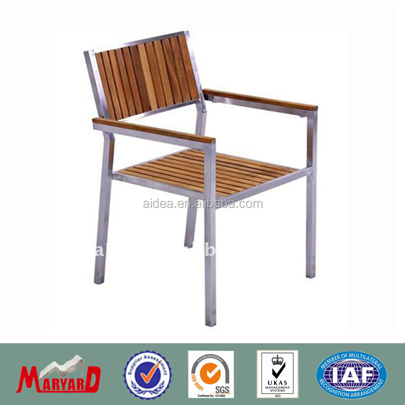garden furniture teak wood armrest aluminum chair