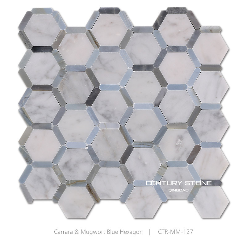 Polished Italy Bianco Carrara Mma Hexagon Marble Mosaic Backsplash