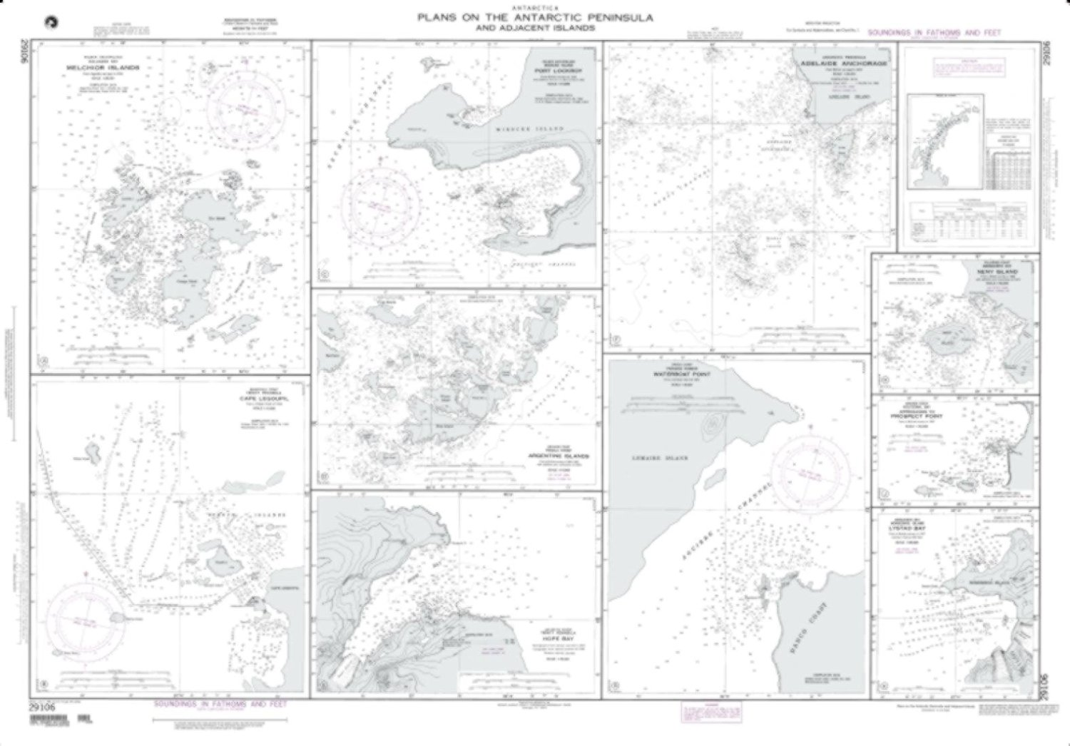 NGA Chart 29106-Plans On Antarctic Peninsula And Adjacent Islands; Plan F: Adelaide Anchorage