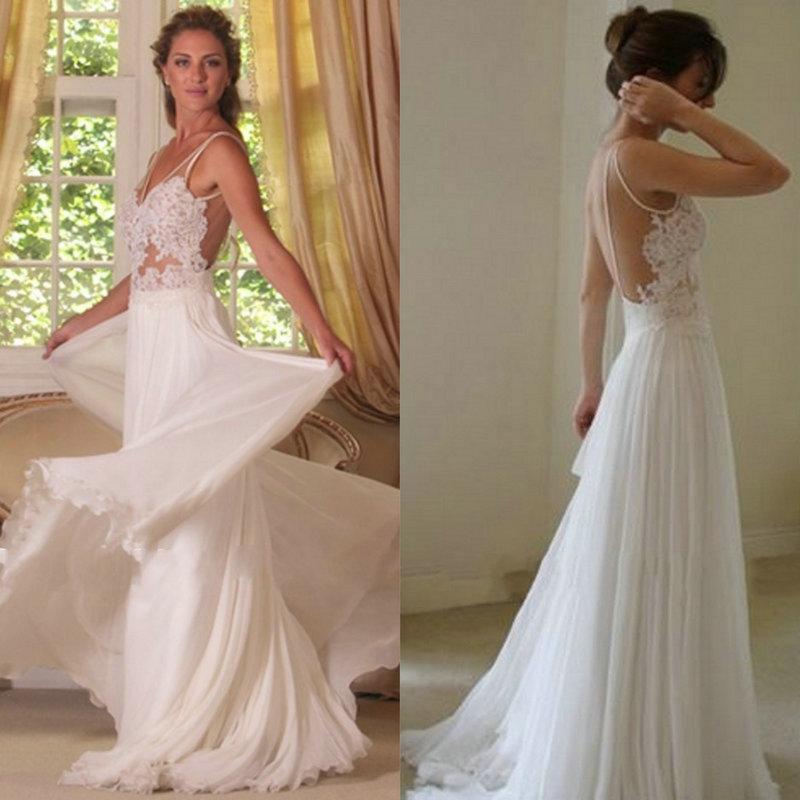 Beach Spaghetti Strap Wedding Gown: Sexy-Beach-Wedding-Dress-2015-Spaghetti-Straps-A-line