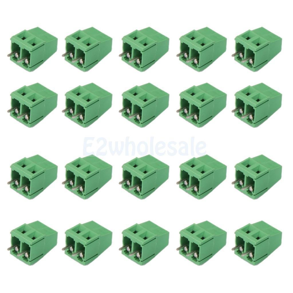 20pcs 2Pin Plug-in Terminal Block DG128 Screw Pitch 5.08MM 300V/10A for PCB