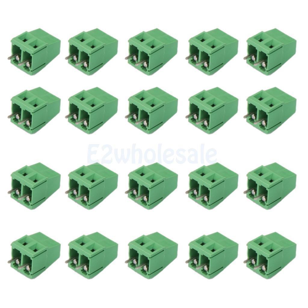 20pcs 2Pin Plug-in Terminal Block DG128 Screw Pitch 5.08MM 300V/10A for PCB
