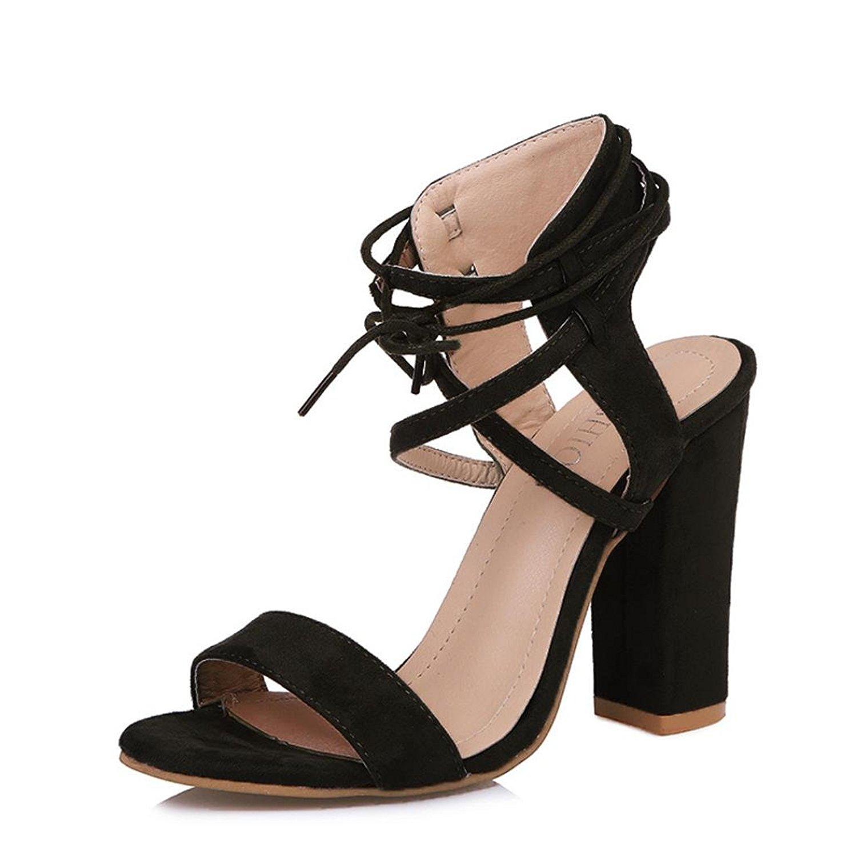 KingWo Womens High Heels, Ladies Block High Heel Sandals Platforms Bandage Shoes Buckle High Heels