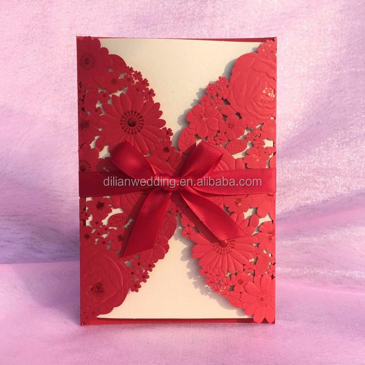 Luxury Ribbon Bow Decorated White Flower Invitation Wedding View – Latest Wedding Invitation Cards Designs