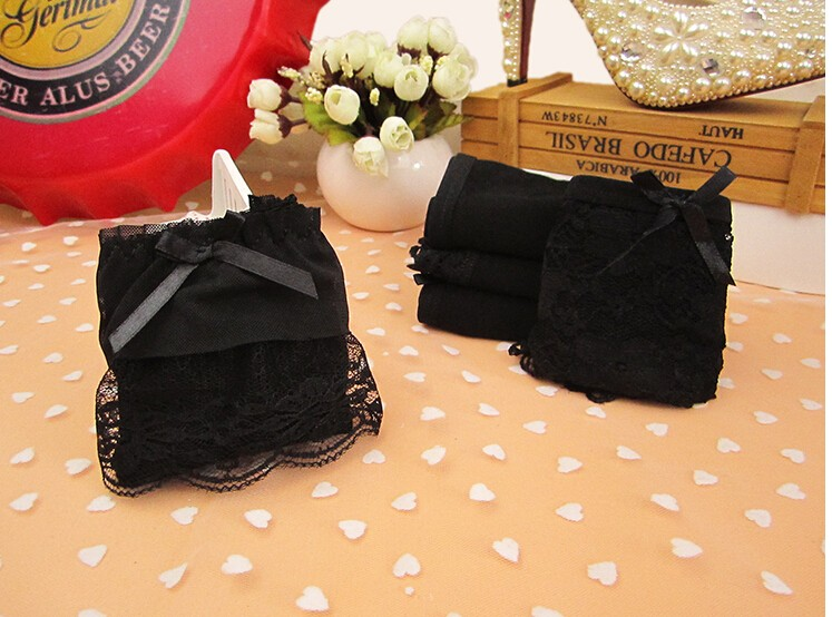 fc40efc306 2019  Gift Box Set 100% Cotton Solid Color Young Girl Lace Black 100 ...