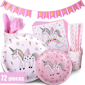Wholesale Kids Disposable Paper Unicorn Baby Shower Birthday Party Supplies Set cheapest