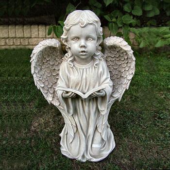 Home Decor Lovely Stone Carved Little Kneeling Angel Models Small