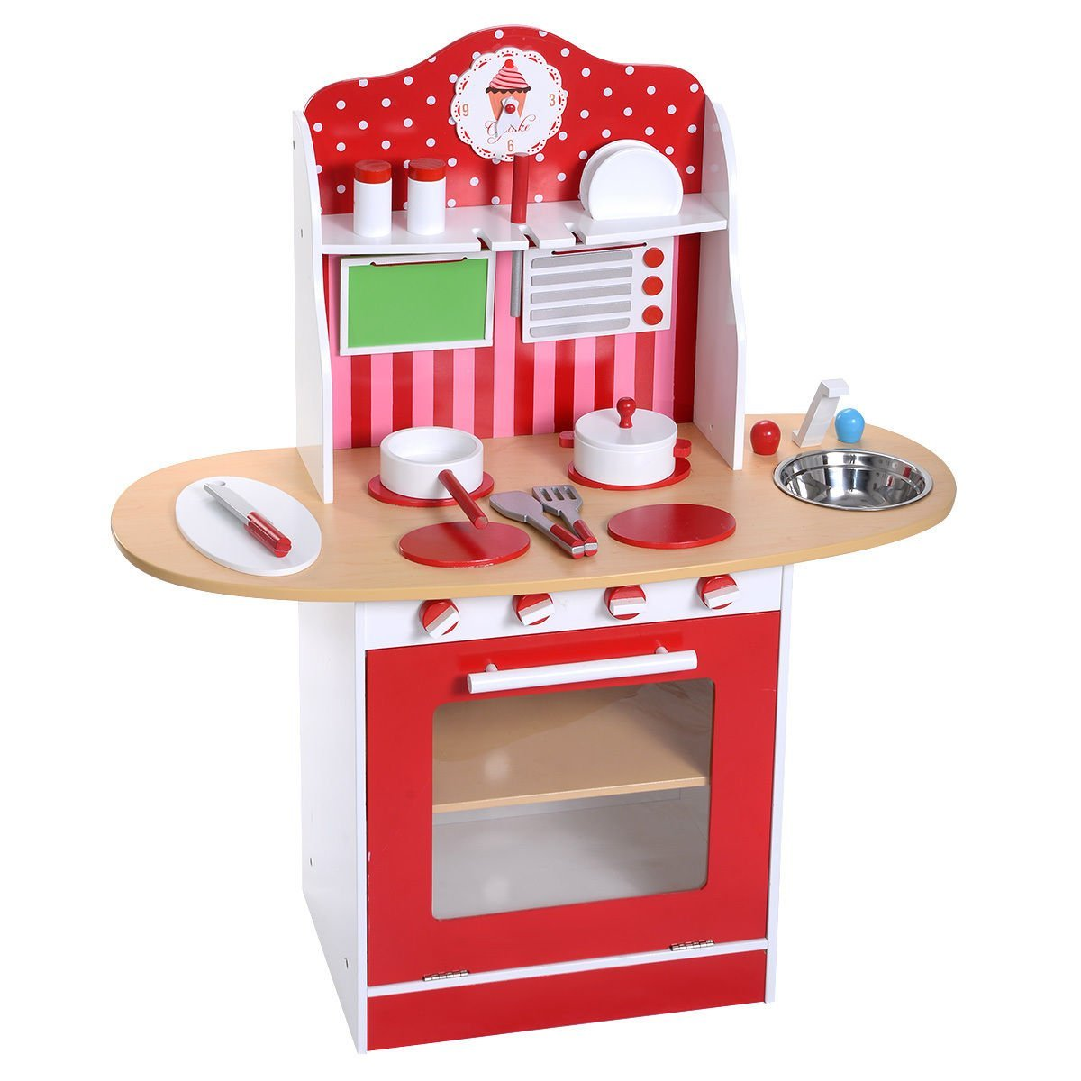Get Quotations · Costzon New Kids Wood Kitchen Toy Cooking Pretend Play Set  Toddler Wooden Playset Gift