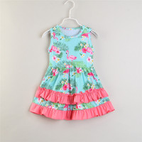 Ivy10370A Summer 2019 kids girls cartoon frocks european style baby girls pink flamingo dress