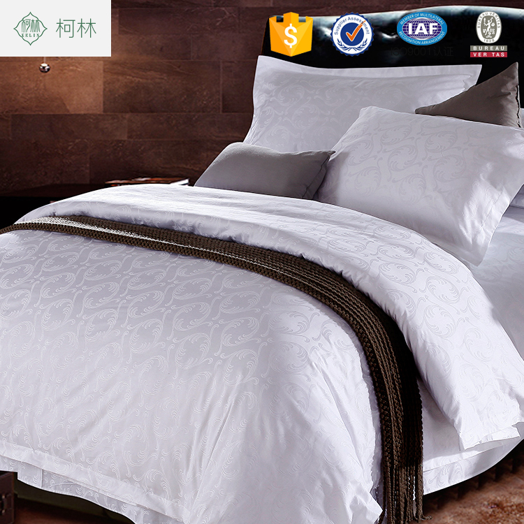 promotion apartment use 100% cotton white jacquard hotel bed sheet bedding set 300TC