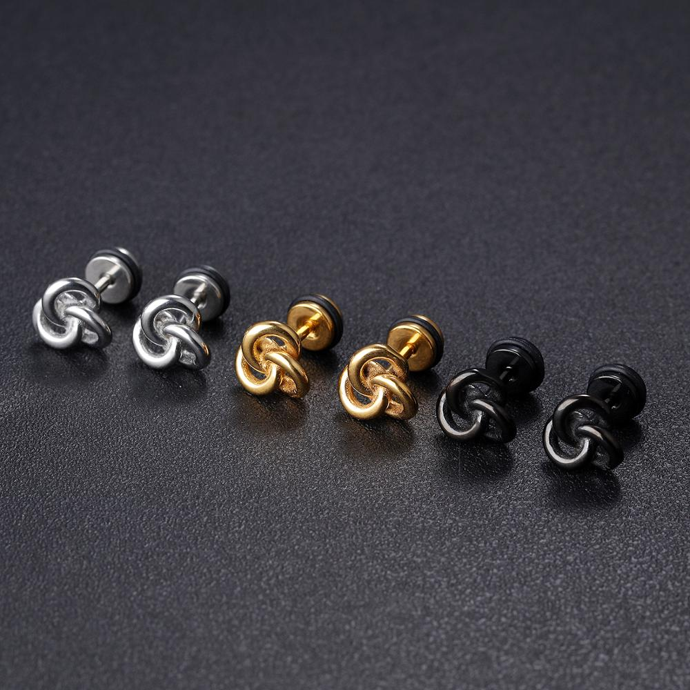Wholesale Men Punk Style Stainless Steel Gold Piercing Earring