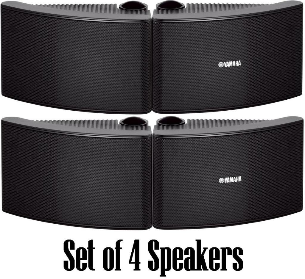 Yamaha All Weather Outdoor / Indoor Wall Mountable Natural Sound 180 watt 2 way Acoustic Suspension Speakers - Set of 4 - Black - with 100ft 16 AWG Speaker Wire - Compatible with All Audio / Video Home Theater Sound Systems, Components, CD Players, or Receivers - Also Designed for Book Shelf or