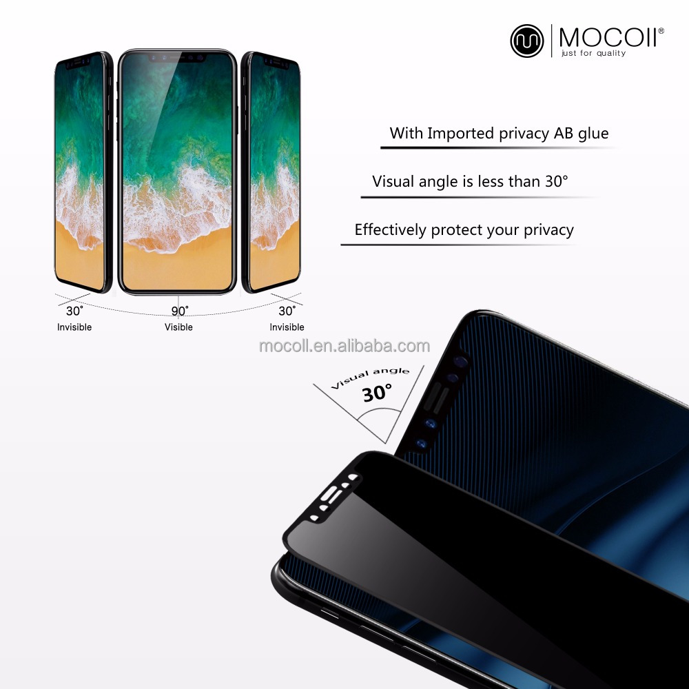 For iphone X explosion-proof tempered glass film privacy full cover tempered glass