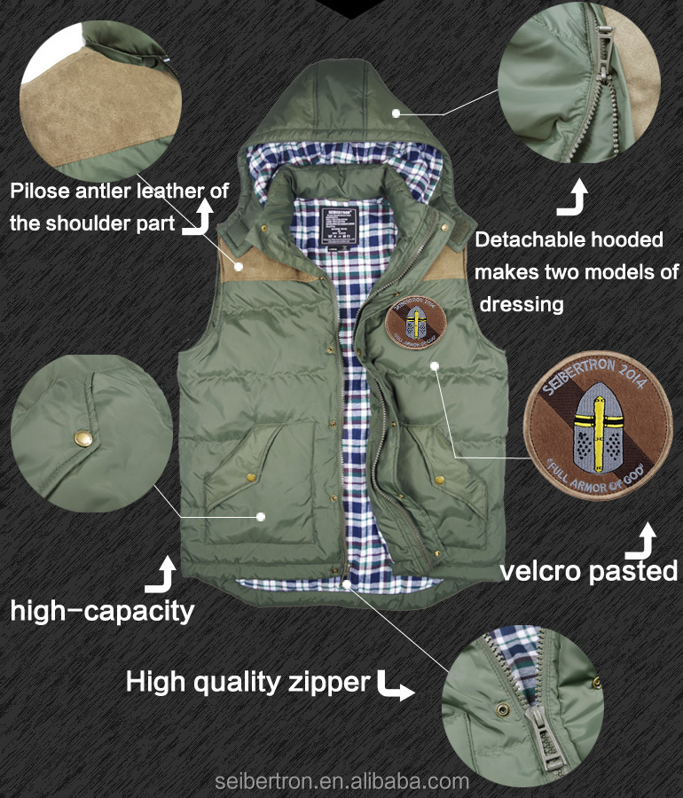 Seibertron Power Hoodie Men's Fashion Design tactical Hooded Down Vest with Removable Hood Gift embroider