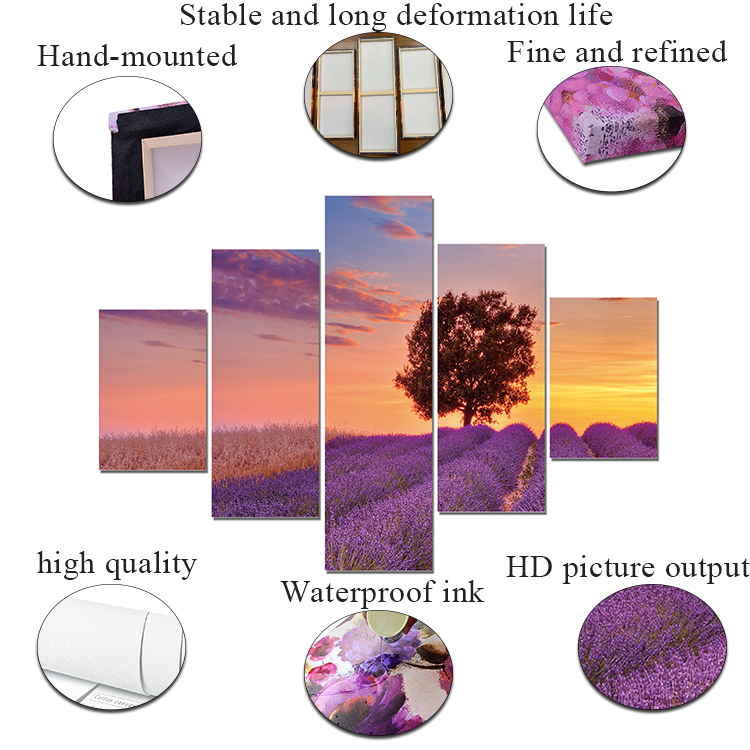 5 pieces Set picture Flower landscape canvas custom printing Purple Wall Art decor home