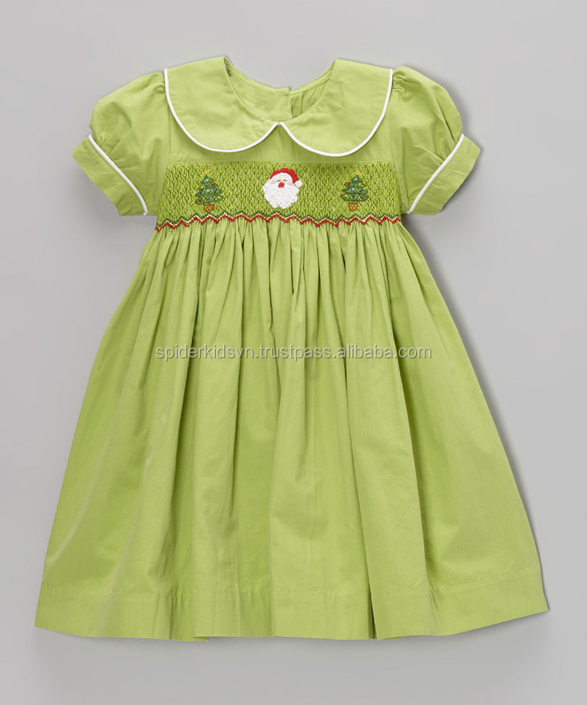 Lime Green Smocked Santa Baby Girls Dress