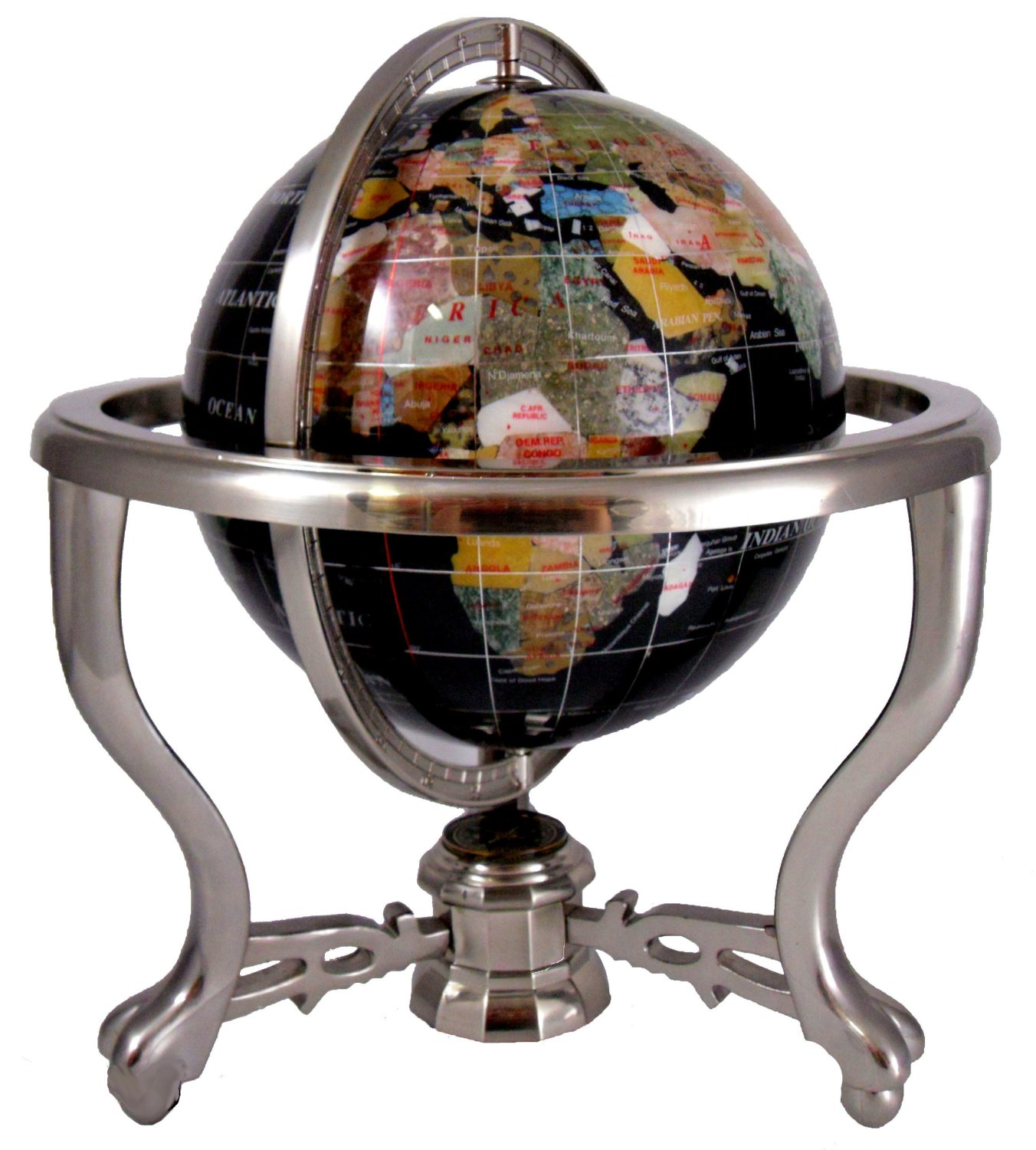 Cheap gemstone world map find gemstone world map deals on line at get quotations 13 black opalite gemstone world map globe silver stand with compass gumiabroncs Image collections