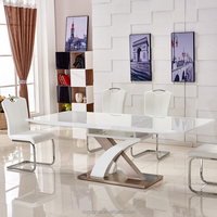 Shengfang furniture white high glossy top metal base expandable table