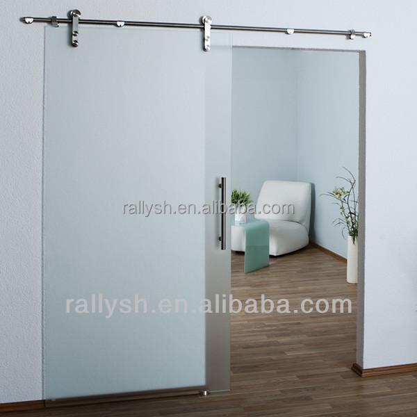 Sliding Frameless Barn Door Glass Shower Hardware Cabinet Wall Mounted