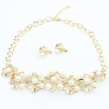 European and American foreign trade jewelry imitation pearl leaf necklace earrings set