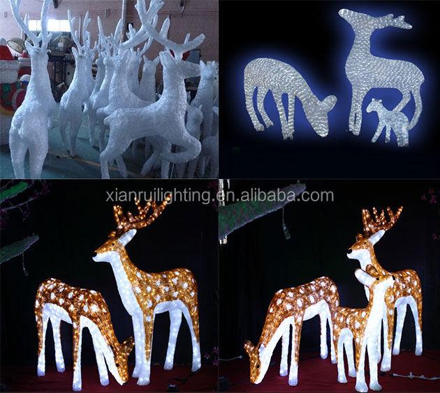 Led White Glue Crystal Deer/3d Sika Deer For Decoration ...
