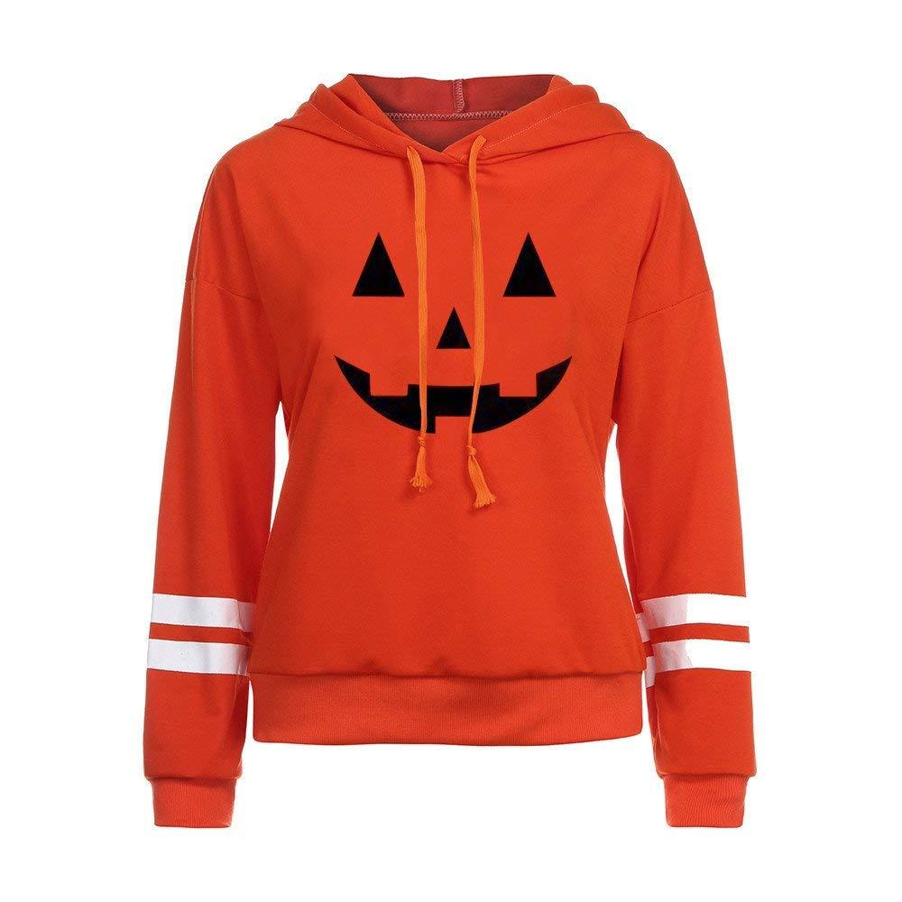 POTO Halloween Sweatshirt,Women Halloween Face Print Hoodie Pullover Sweatshirts Jumper Hooded Tops Blouse Shirt