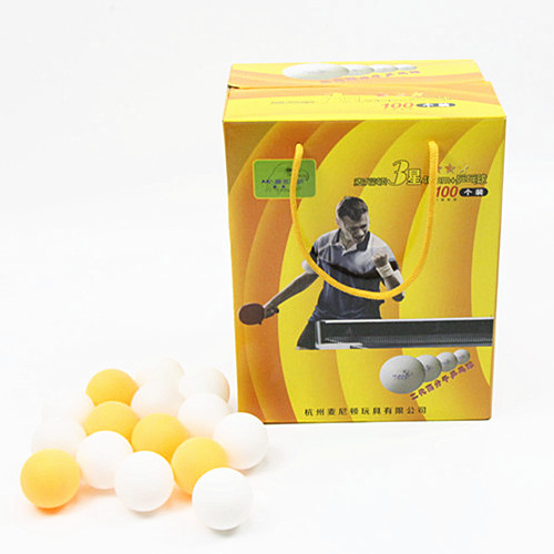New material 40+ table tennis ball non-celluloid pingpong ball for training 3 star (100pack )