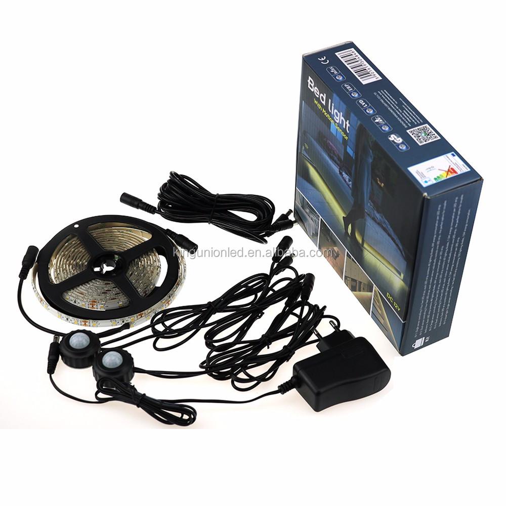 CE RoHS DC12 LED strip light with motion sensor SMD3528 150LED 300LED flexible LED strip light with color box