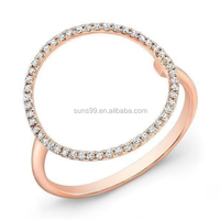 Ally Express Cheap Wholesale Ring 14k Rose Gold Open Circle Diamond Ring