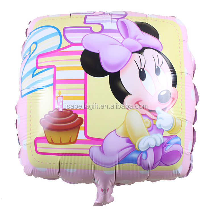 square shape mickey mouse balloons, helium balloons with 18 inch size