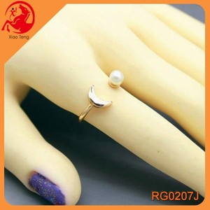 Wholesale 2015 Best Sale Jewelry Exclusive Midi Finger Ring Crescent Moon and Pearl Ring