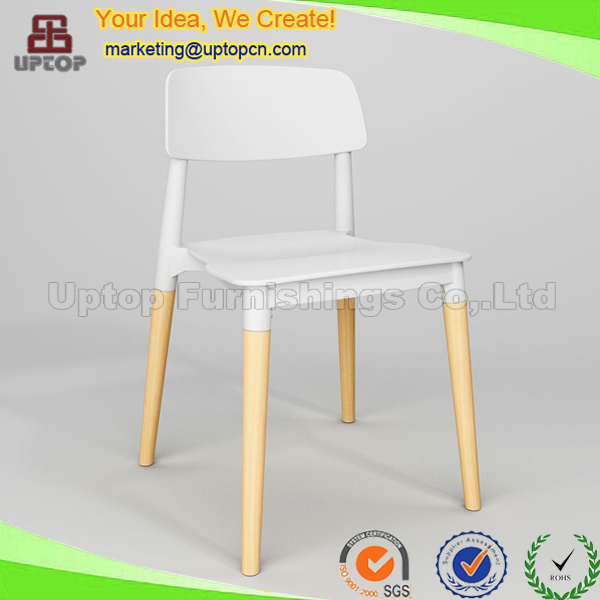 (SP-UC018) Used contemporary furniture backrest dining plastic chair with wood leg