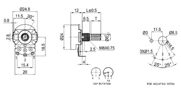 stereo potenziometro b503 potenziometro di regolazione del