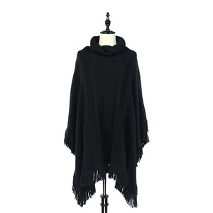 Thick Cable Knit Warm Cowl Neck Pullover Sweater Poncho With Shammy Tassel