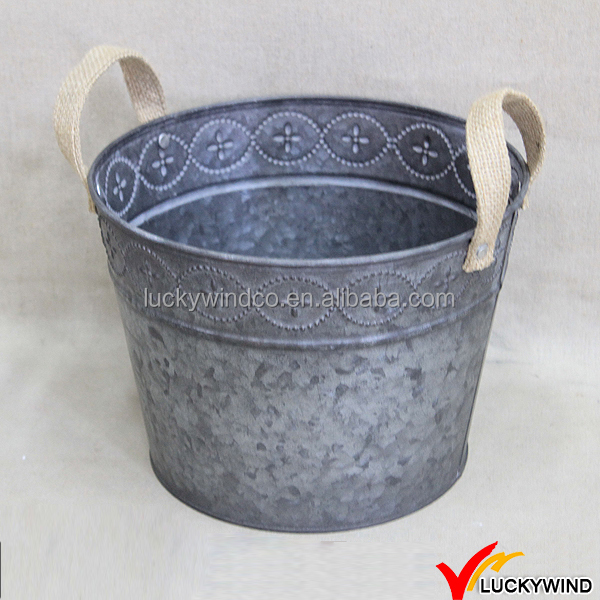 Jute Handles Small Chic Decorative Metal Bucket