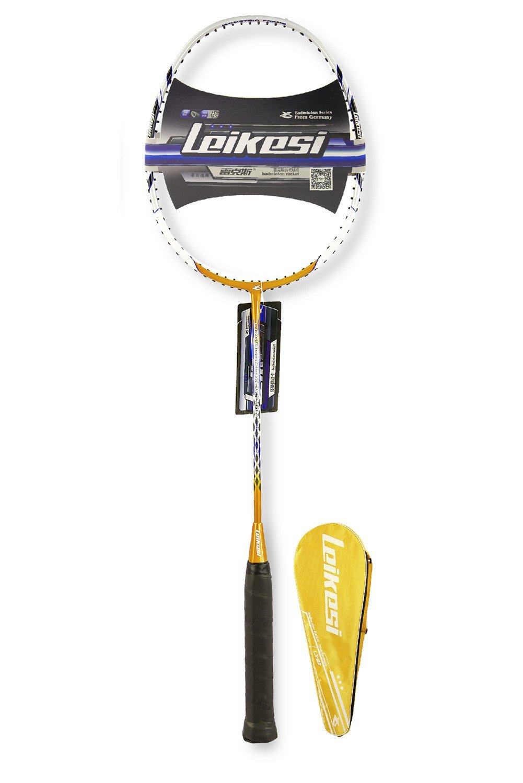 LeiKeSi Carbon Fiber Integrated Single Yellow Badminton Racket With Line