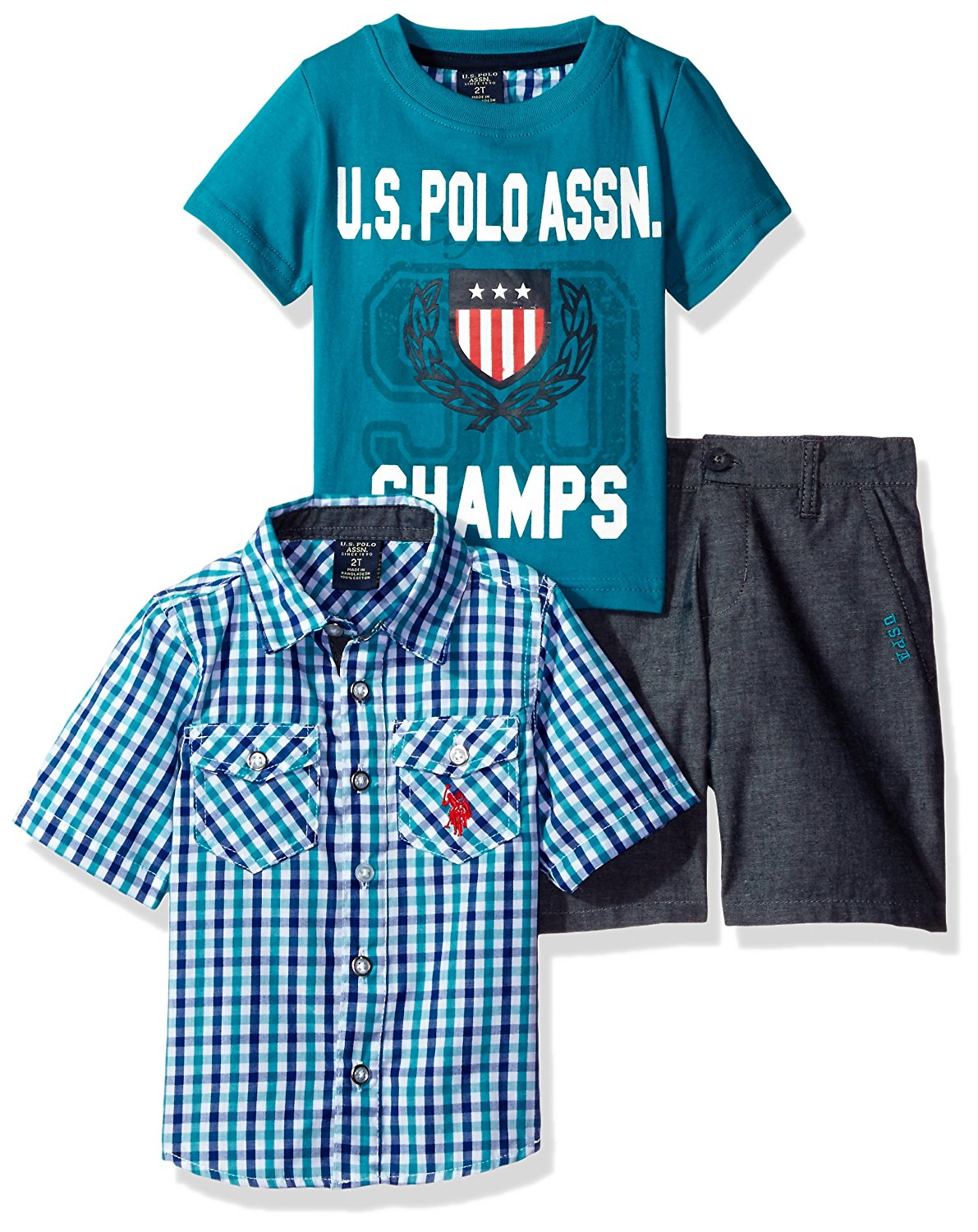 U.S. Polo Assn. Boys' Little Sleeve Sport, T-Shirt and Twill Short Set