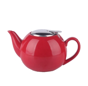 red color tea pot with stainless infuser,TEA POT WITH S/STEEL LID & STRAINER