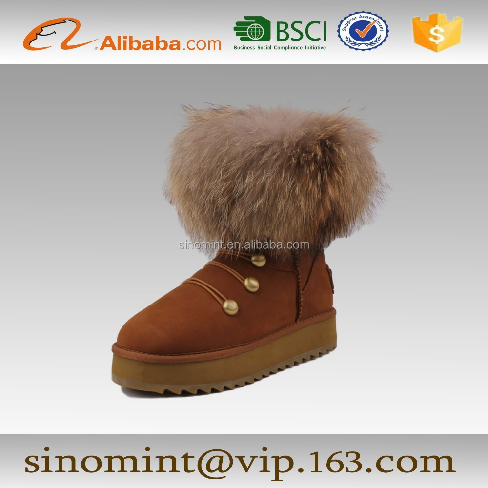 ladies and women winter snow boots with fox fur hair