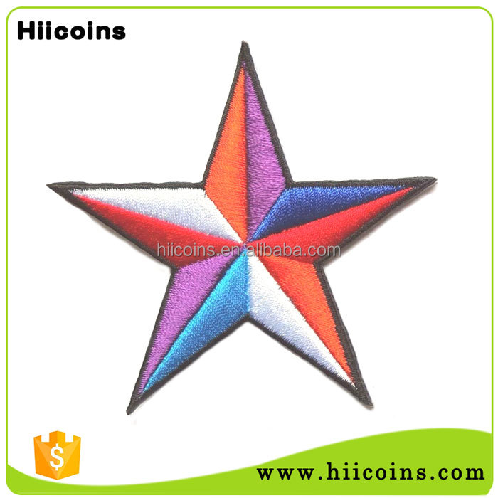 Wholesale Custom Iron On Cheap Embroidered Star Patches