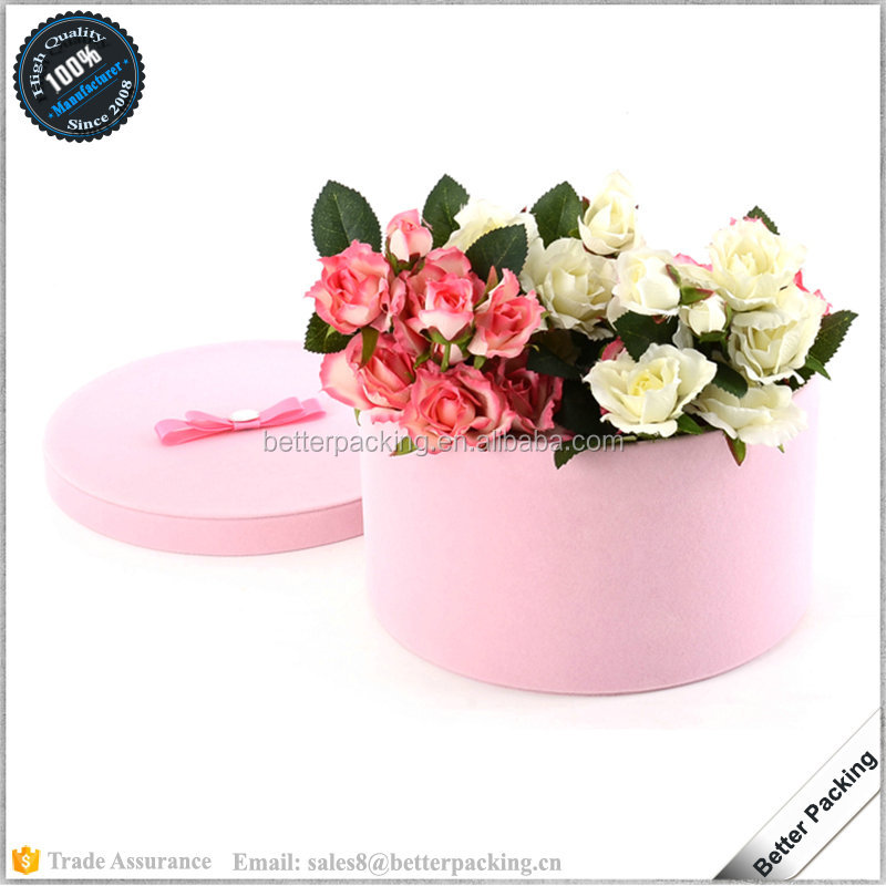 Table Decorated Round Pink Velvet & Satin Lining Small Flower <strong>Box</strong>