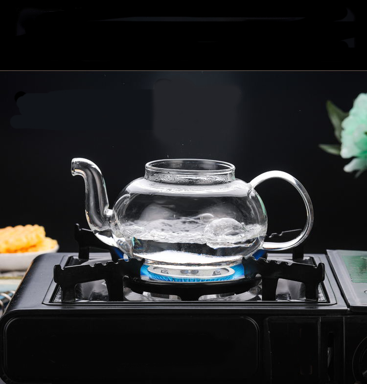 304ss filter handblown heat resistant pyrex glass teapot