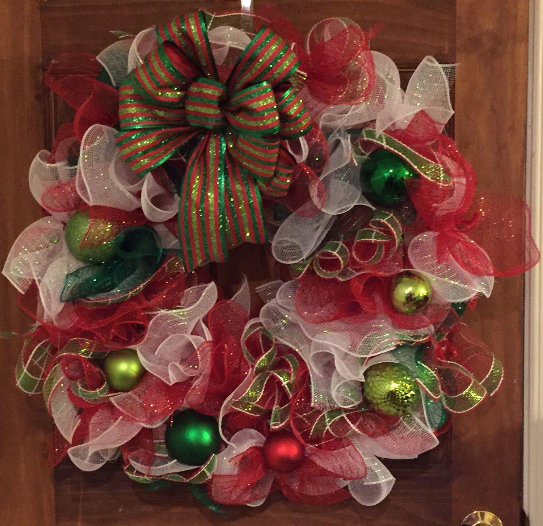 Multi- Colored Deco Mesh Christmas Wreath
