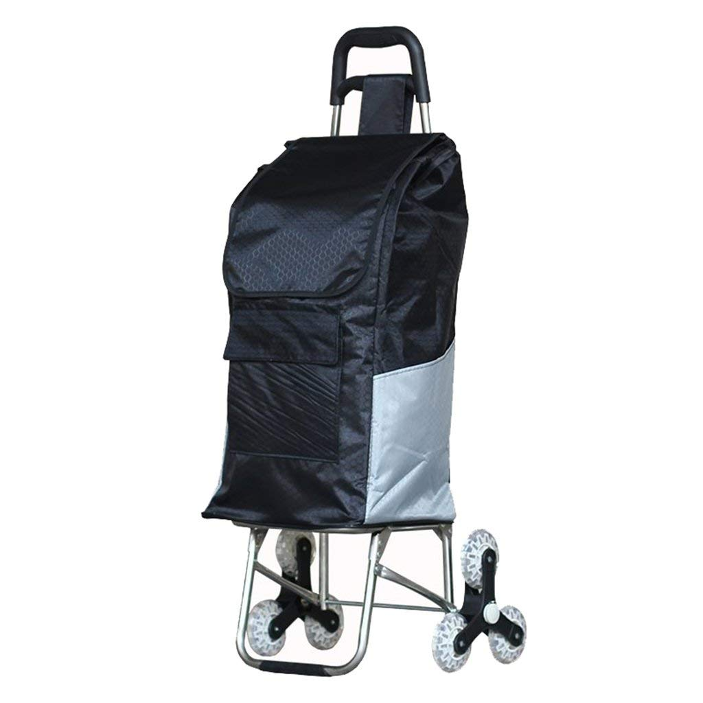 Shopping cart, with stair climbing shopping cart stainless steel luggage trolley lightweight folding shopping cart elderly shopping cart, bearing about 40KG ( Color : Black , Size : 43101cm )