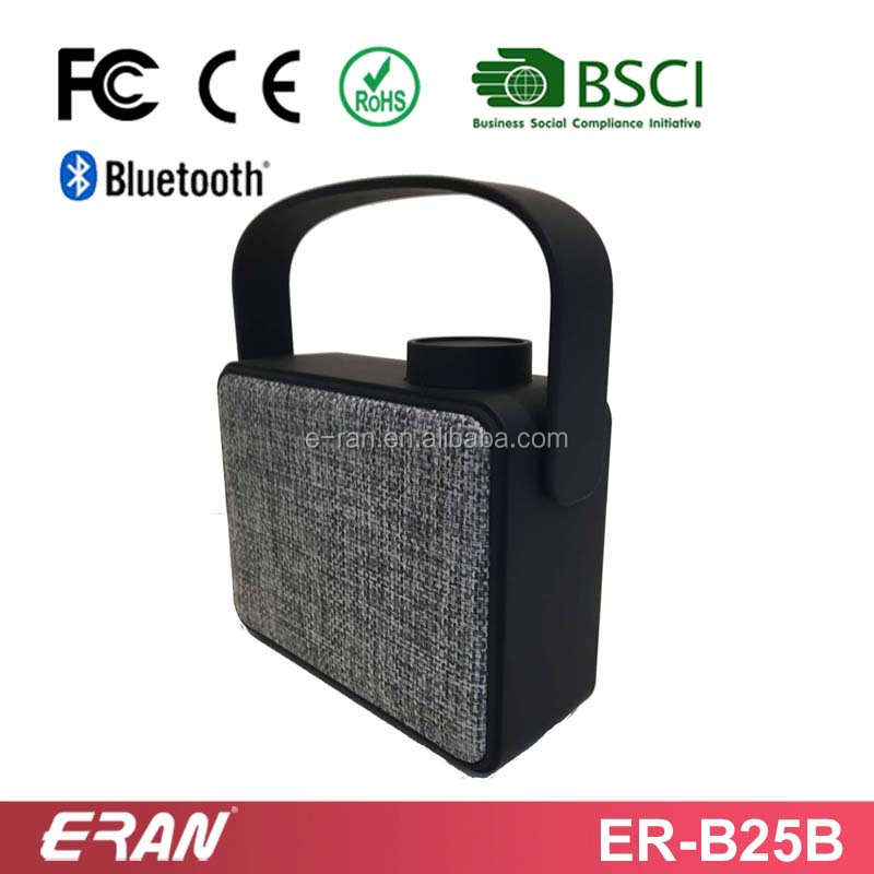 10 years OEM/ODM factory bluetooth speaker mesh cloth fabric with handle