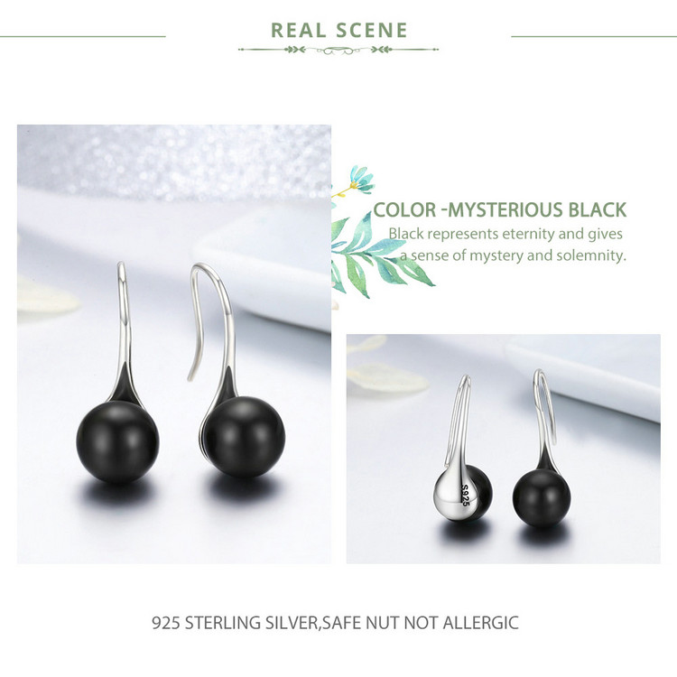 Pure Elegant Round 925 Sterling Silver Pearl Drop Earrings
