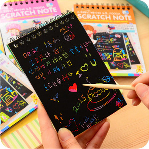 Blank paper scratch note small colorful DIY scratch painting for children